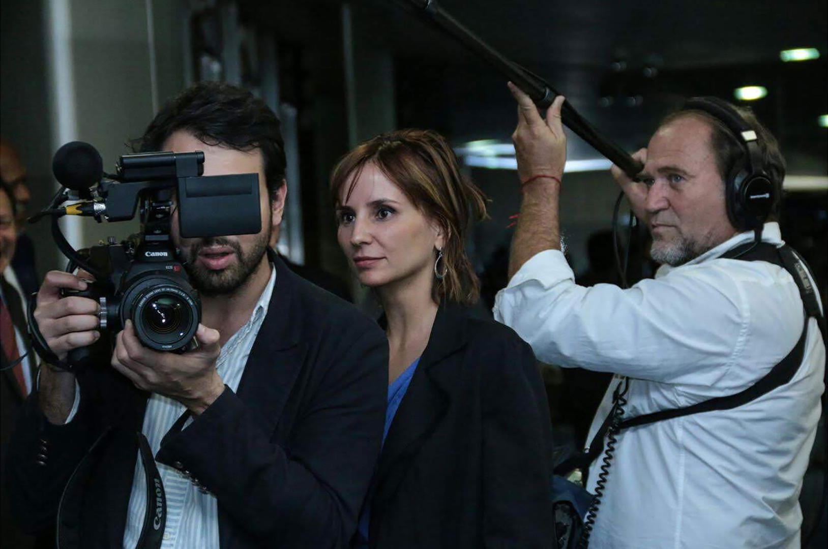 Director Petra Costa (center), shooting a scene from 'The Edge of Democracy.'. Courtesy of Netflix.