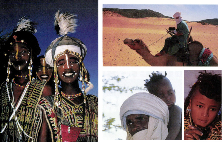Clockwise from left: Three young Wodaabe men (Mutaara, Neyali and Alto) just before they head off for the 'Yakee'. Photo by Kevin Peer; Kevin soon found that it was extremely difficult to shoot while perched on a narrow Tuareg saddle and an unruly camel. Photo by Leslie Clark. Reflecting beauty and grace and a touch of sadness, this young girl had very recently lost her mother to malaria. Photo by Kevin Peer.  Suralki, like all Wodaabe men and women, are loving and attentive parents. Photo by Kevin Peer