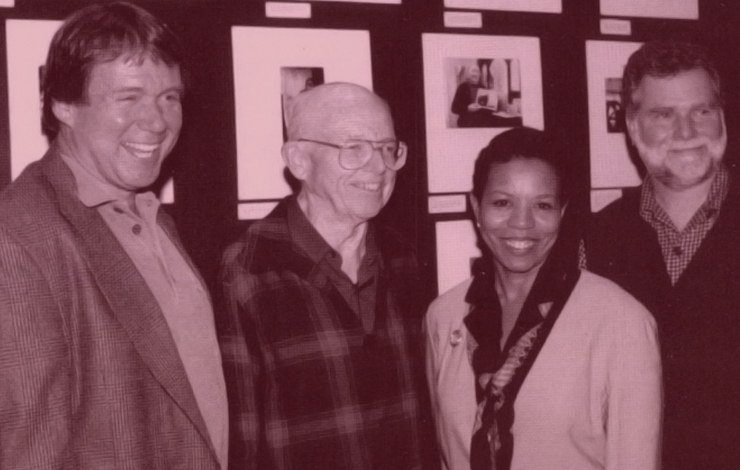 George Stoney (second from left) with Jim Brown (far left), Dean May Schmidt Campbell and David Irving
