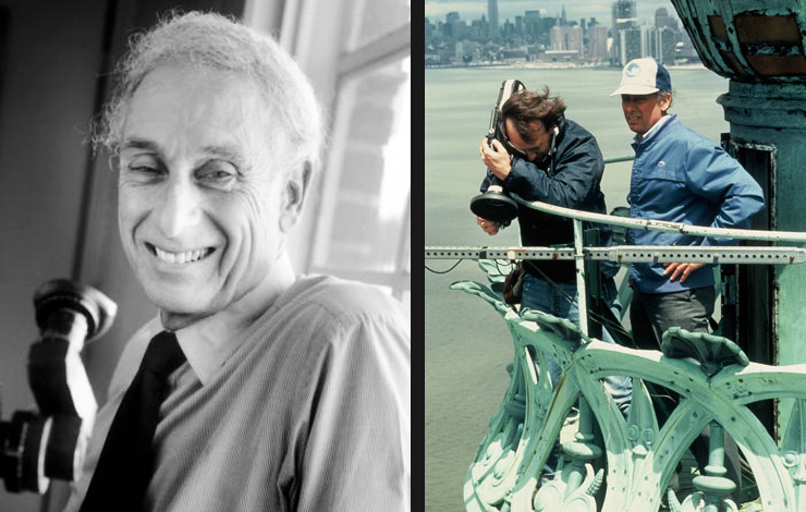 Left to right: Charles Guggenheim; Guggenheim shooting from the torch in <em>The Making of Liberty</em>, a film chronicling the restoration and history of the Statue of Liberty.