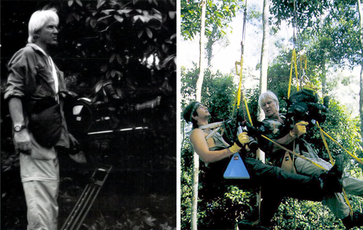 Left: Wolfgang Bayer on location in Bornea, Malaysia. Right: Tristan and Wolfgang Bayer set up a tricky shot suspended from the trees.
