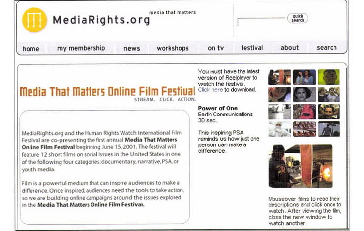 Screen grab from MediaRights.org website.
