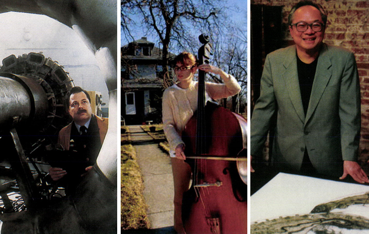 From left to right: Actor portraying aviation pioneer Frank Whittle in Carl Byker's <em>Chasing the Sun</em>, photo: Ken Green; high school student Kaytee of R.J. Cutler's <em>American High</em>, photo: Actual Reality Pictures; Artist Mel Chin of Hart Perry and Michael Owen'.s Contested Ground: American Art in the 20th Century, photo: Don Perdue.