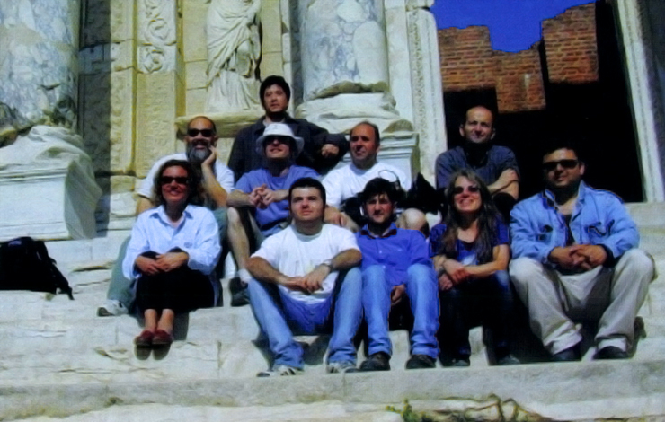 Lyn Goldfarb, co-producer/director, with Margaret Koval, of <em>The Roman Empire in the First Century</em>, with production crew in Turkey.