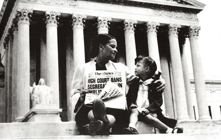 Mrs. Nettie Hunt sits on the steps of the Supreme Court with her daughter after the historic 1954 <em>Brown v. Board of Education</em> desegregation ruling. From <em>The Rise and Fall of Jim Crow</em>.