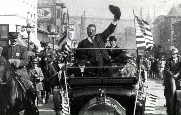 Theodore Roosevelt campaigning as Progressive Party candidate, in downtown Los Angeles, September 16, 1912. 35mm frame blowup, from Harrison Engle's <em>The Indomitable Teddy Roosevelt</em>. Photo courtesy of Signal Hill Entertainment.