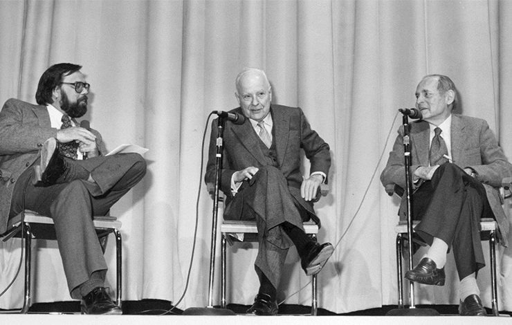 Jon Wilkman, Pare Lorentz and Erik Barnouw at the first IDA Awards, 1985.