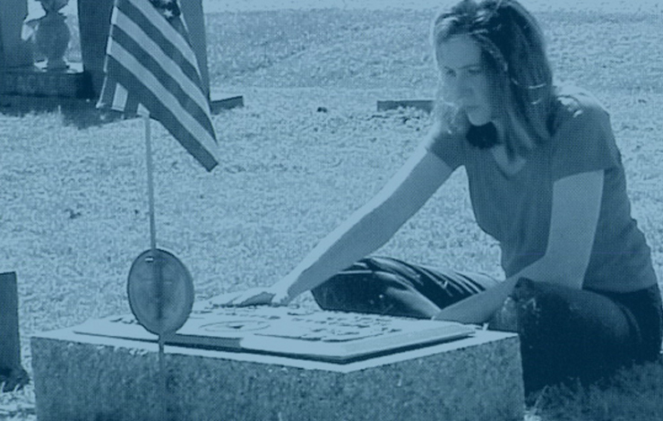Tracy Tragos at her father's grave, from her film 'Be Good, Smile Pretty,' which won the Target Documentary Award for Best Documentary Feature. Photo by Kat Tragos.