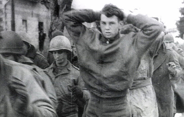 American GIs surrender at the Battle of the Bulge on December 17, 1944. From Charles Guggenheim's 'Berga:: Soldiers of Another War,' airing on PBS on May 28.