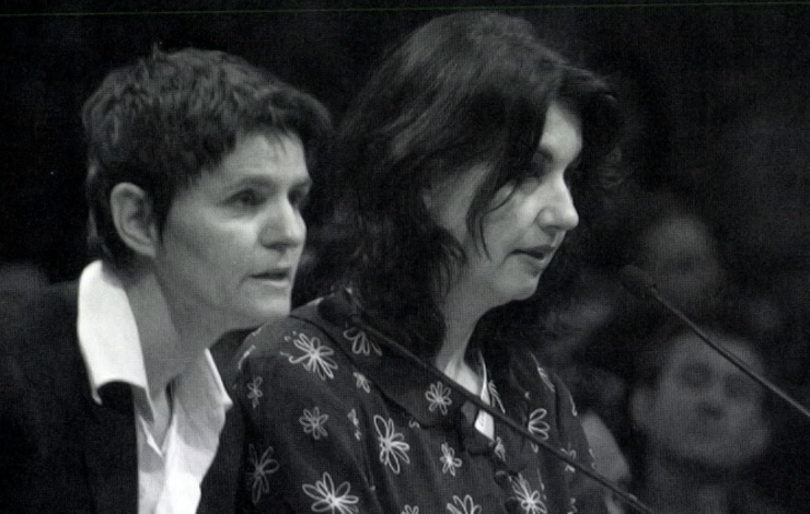 Justine Pimlott, left, and Maya Gallus pitching their film <em>Fag Hags</em> at the Canadian Documart, part of the Banff Television Festival. Courtesy of Banff Television Foundation.