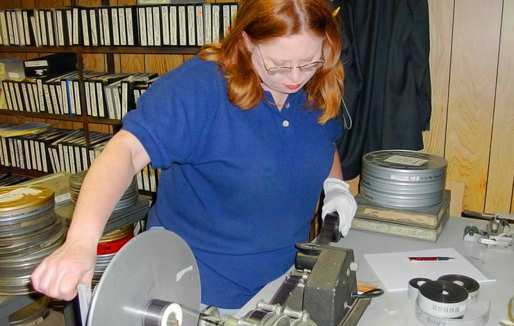 Barbara Leigh Gregson researching archival footage at the Grinberg Film Library. Photo: Rafael Madrigal