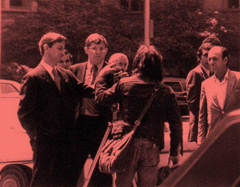 An FBI agent interfering with production on Joel Sucher's 'Red Squad.' Courtesy of Pacific Street Films.