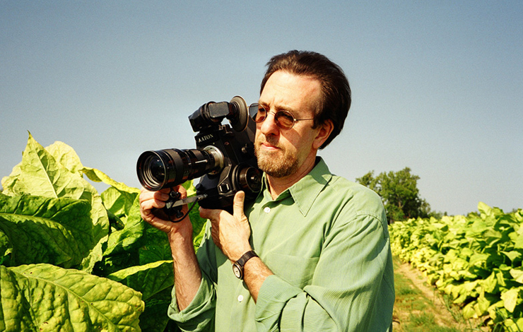 McElwee on location in his native North Carolina, shooting <em>Bright Leaves</em>, a First Run Features Release. Courtesy of First Run Features