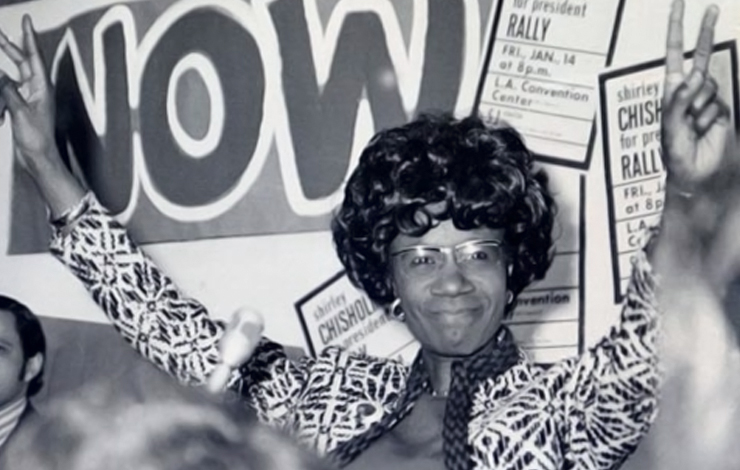 Shirley Chisholm running for President in 1972. From Shola Lynch's 'Chisholn '72- Unbought and Unbossed.' Photo: Rose Greene.