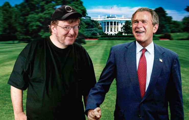Controversy? What controversy? From  Michael Moore's <em>Fahrenheit 9/11</em>