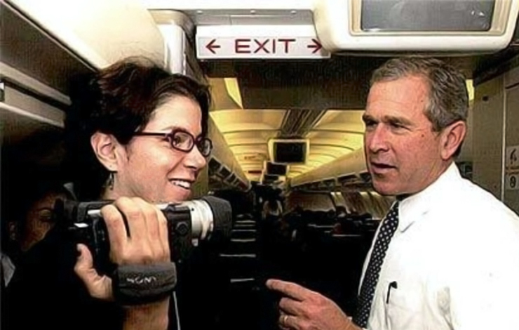 Filmmaker Alexandra Pelosi and 200 presidential candidate Governor George W. Bush in 'Journeys with George.' Courtesy of HBO.