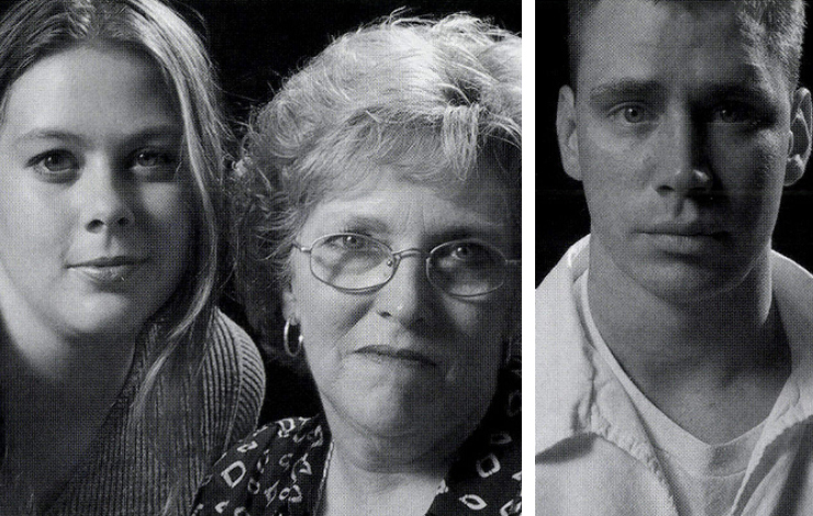 Ami (left) and Linda White meet the man convicted of raping and mudering Ami's mother and Linda's daughter in Court TV's <em>Meeting with a Killer: One Family's Journey</em>. Right: Gary Brown was convicted in 1986 of murdering Cathy O'Daniel.