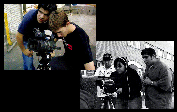 Left: Raman Sarabdaolla and Jeffery Jackson, students at Grover Cleveland High School in Los Angeles, as part of IDA's DOCS ROCK program. Photo: Cathee Cohen. Right: San Pedro (LA) High School students Giancarlo Scotti, Tina Nottingham and friend shooting a doc.