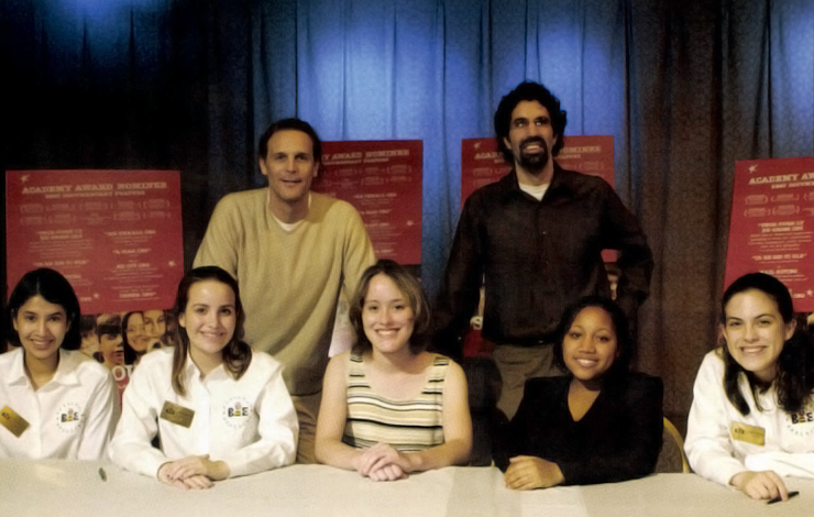 Top row, left to right: <em>Spellbound</em> producer Sean Welch and producer/director Jeff Blitz. Bottom row, left to right: <em>Spellbound</em> participants Nupur Lala, April DeGideo, Angela Arenivar, Ashley White, Emily Stagg. Photo: Mark Bowen