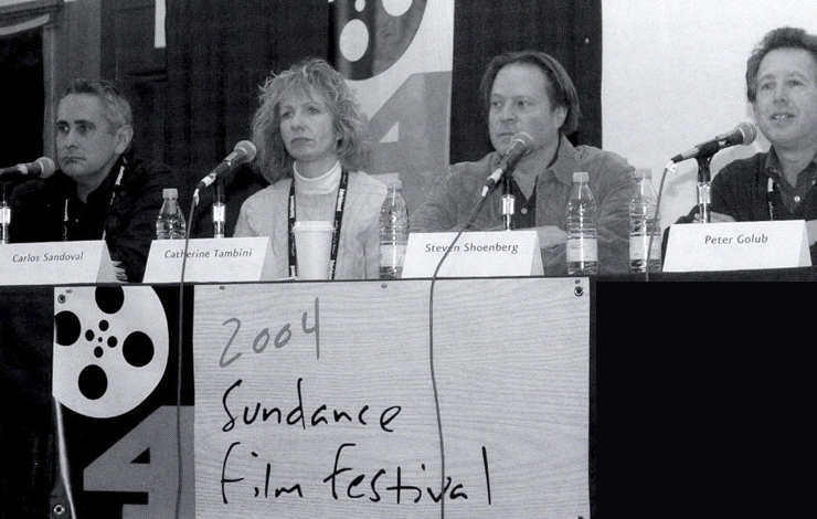 Left to right: Filmmakers Carlos Sandoval and Catherine Tambini (<em>Farmingville</em>), composer Steven Schoenberg (also <em>Farmingville</em>and panel moderator Peter Golub.