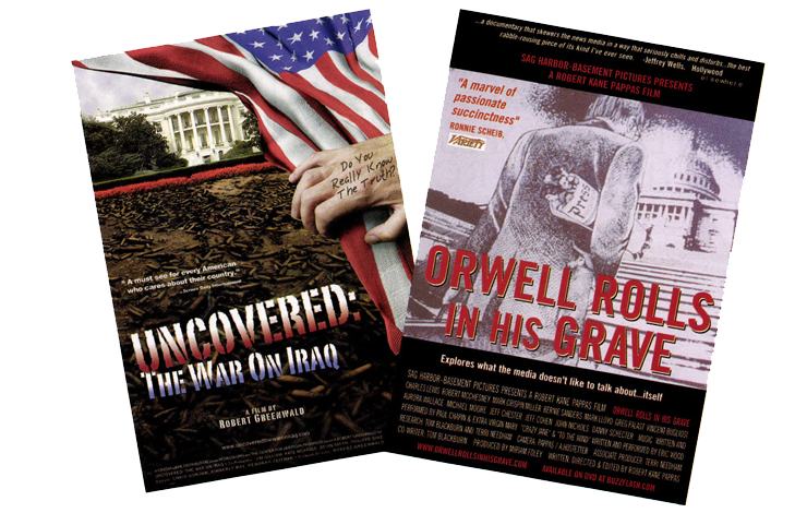 Left: Cover art for the DVD of Robert Greenwald's <em>Uncovered: The Whole Truth about the War in Iraq</em>. Right: Cover art for the DVD of Robert Kane Pappas' <em>Orwell Rolls in His Grave</em>.