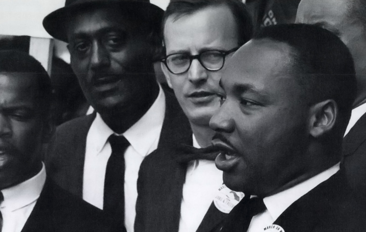 Dr. Martin Luther King Jr. (righ) at Civil Rights March on Washington, DC, August 28, 1963. From <em> Eyes on the Prize</em>.