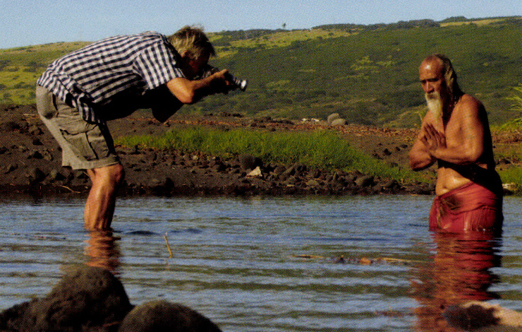 Wolfgang Hastert filming Able, a local Hawaiian man, on a beach bear South Point, Big Island of Hawaii. From Hastert's film 'Hawaiian Shirts -- Happy Stories on Fabric' which he made for ZDF/ARTE. Courtesy of Wolfgang Hastert Films