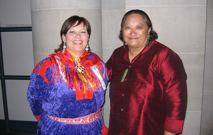 "Anne Wuolab of NRK Sami (Lapplander) Radio, Norway (left) and Tawini Rangihau of Maori Television, New Zealand served on a panel at INPUT 2005, ""Indigenous Media: Journalism or Identity Politics?"" Photo: Cathy Fischer"
