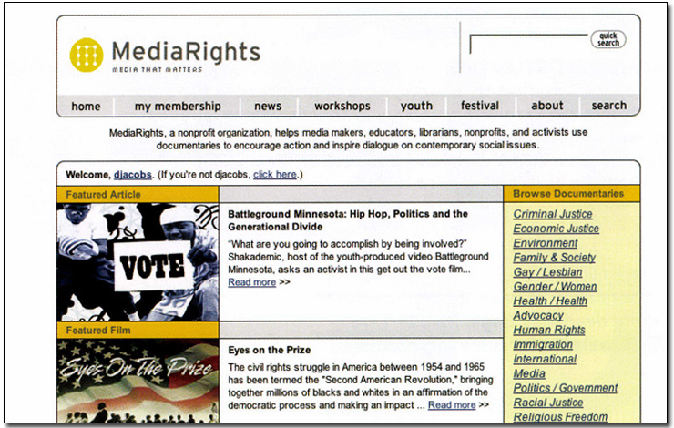 Home page for the MediaRights.org website. Courtesy of MediaRights.com