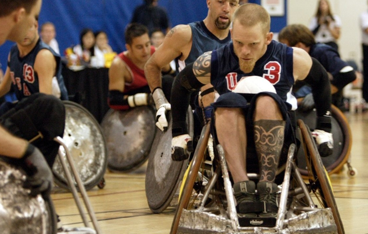 US Paralympic Rugby Team Captain Mark Zupan (center) and teammates in <em> Murderball </em>, released theatrically this summer by THINKFilm. Photo: Jack Rowand.