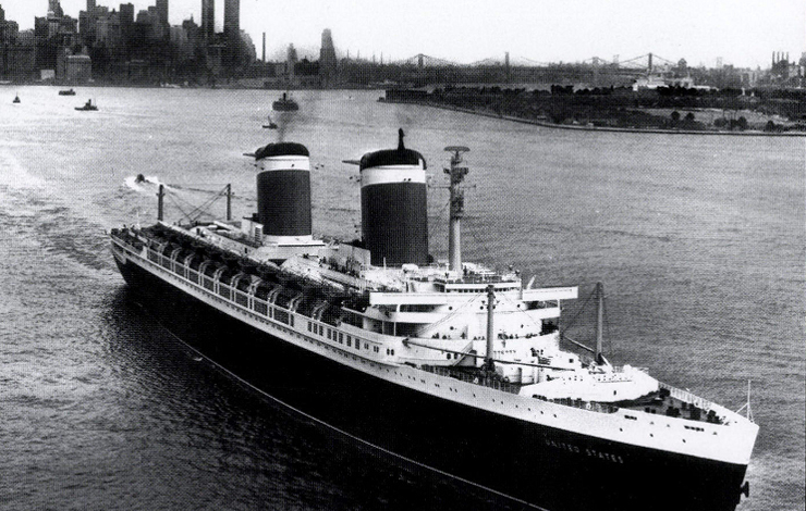 The SS United States heading outbound from New York City, 1953. From Washington, DC-based Rock Creek Productions' doc-in-progress on the ocean liner. Photo: The Steamship Historical Society of America