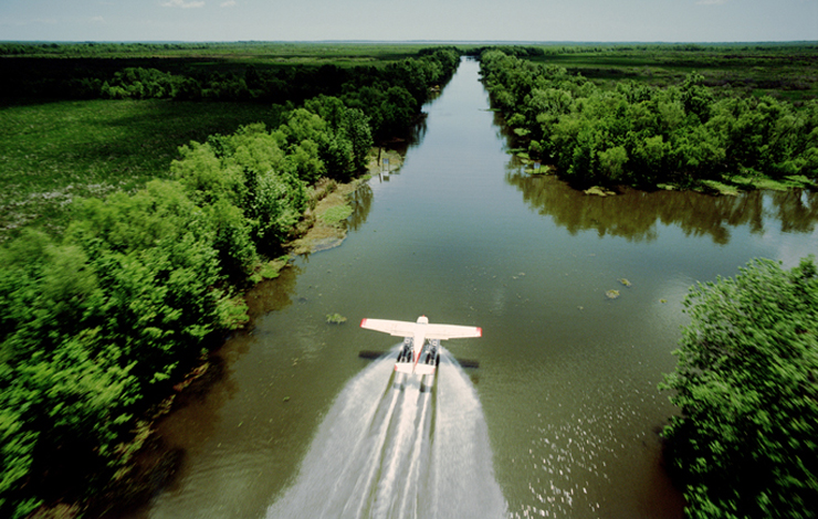 A Spacecam shot of blues guitarist and wetlands activist Tab Benoit taking an aerial survey of the Louisiana's wetlands by floatplane. From Greg MacGillivray's 'Hurricane on the Bayou.'
