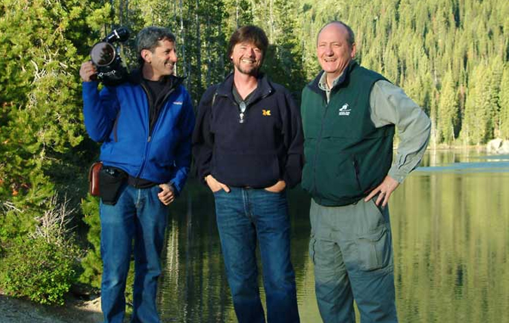 Left to right: Buddy Squires, Ken Burns and Dayton Duncan filming at Grand Teton National Partk, Wyoming, for a documentary about America's Parks