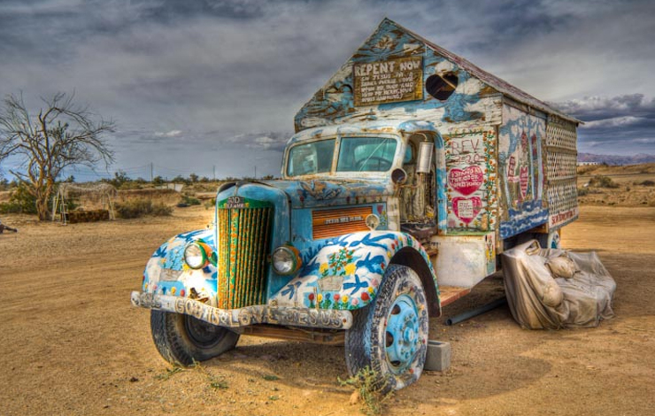 'Off the Map,' an ITVS Interactive Project created and produced by Lisa Ko, gives visitors a chance to build a paradise of their own online. Pictured here is Leonard Knight's truck and home at Salvation Mountain in Slab City, California.