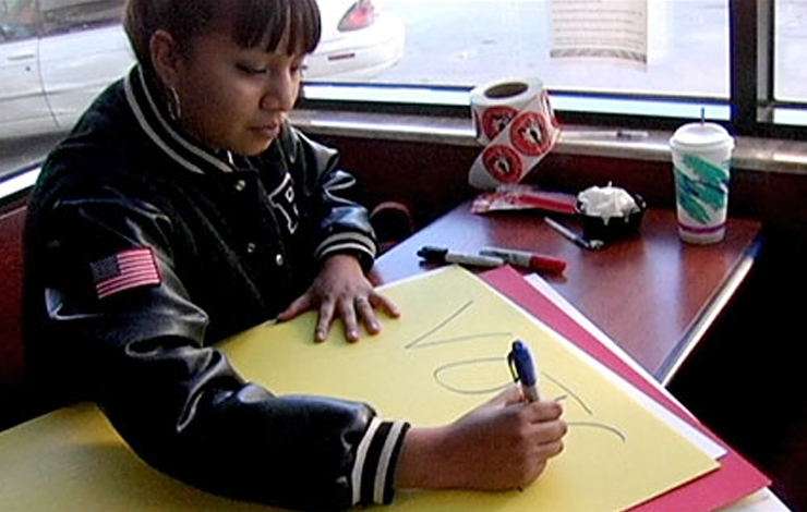 A volunteer on the Pine Ridge Reservation prepares to mobilizes Native American voters on November 2, 2004. From <em>Election Day</em> (2007).