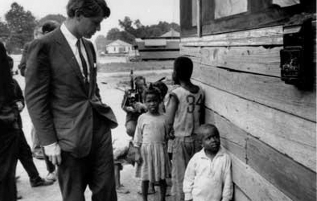Robert F. Kennedy witnessing the rural poor in the South. From Charles Guggenheim's Robert Kennedy <em>Remembered</em> (1968)