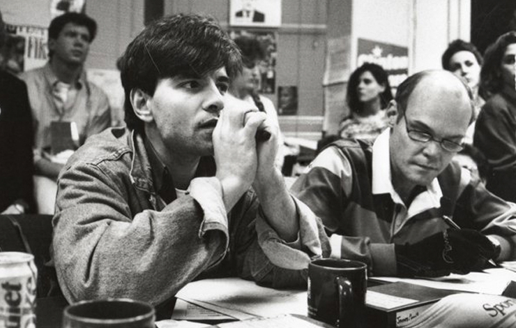 George Stephanopoulos (left) and James Carville, who managed Bill Clinton's 1992 US Presidential campaign. From DA Pennebaker and Chris Hegedus' <em>The War Room </em>(1993). Courtesy of Icarus Films