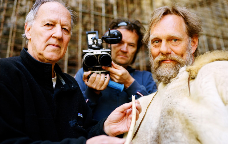 Filmmaker Werner Herzog, cinematographer Peter Zeitlinger and spiritual expert W. Hein, in production on Herzog's <em>Cave of Forgotten Dreams</em>