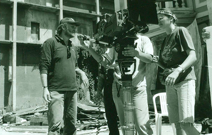 Gianfranco Pannone and cinematographer Tarek Ben Abdallah on the set of  <em>L'America a Roma</em>