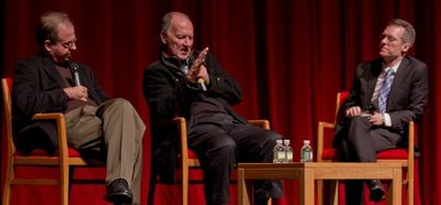 Werner Herzog, flanked by editor Erik Nelson (left) and DOC NYC directgor Thom Powers, discussing his film Into the Abyss. Courtesy of DOC NYC