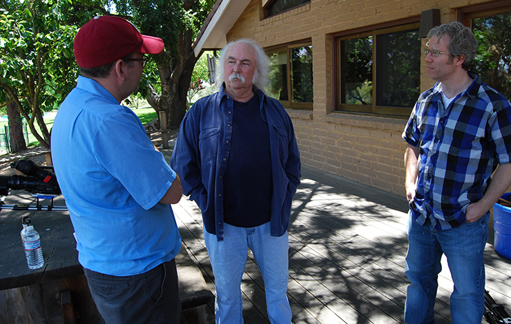 Left to right: Morgan Neville, director, <em>Troubadours</em>, singer/songwriter David Crosby; Eddie Schmidt, producer, Troubadours. Courtesy of Tremelo Productions