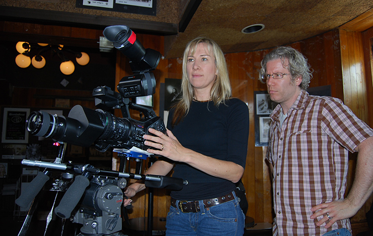 Arlene Nelson (left), cinematographer of <em>Troubadors</em>, and Eddie Schmidt