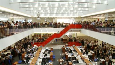The newsroom at The New York Times headquarters. From Andrew Rossi's Page One: Inside The New York Times. Courtesy of Magnolia Pictures