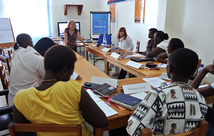 Lyn Goldfarb teaches a workshop in Bujumbura, Burundi