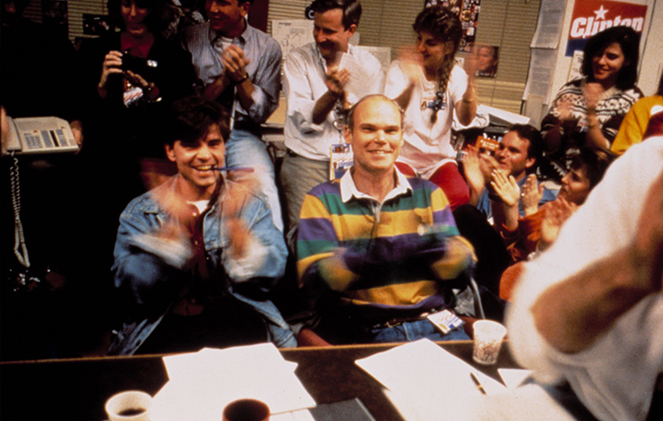 George Stephanopoulous (left) and James Carville, featured in Chris Hegedus and DA Pennebaker's <em>The War Room</em>. Courtesy of The Criterion Collection