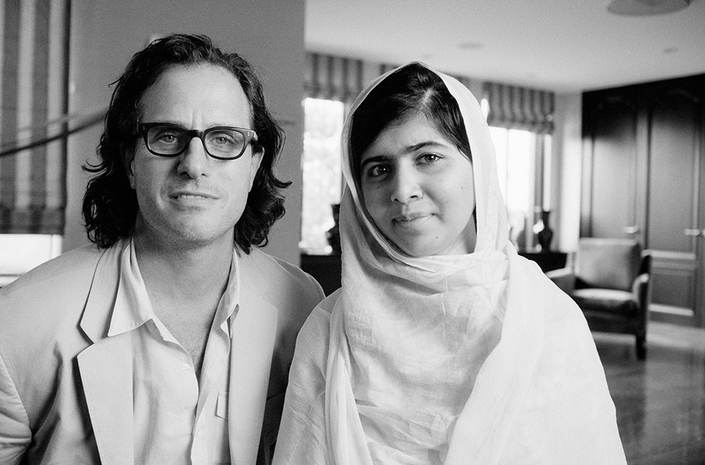 Davis Guggenheim and Malala Yousafzai on the set of 'He Named Me Malala.' Courtesy of Bob Richman © 2015 Twentieth Century Fox Film Corporation All Rights Reserved