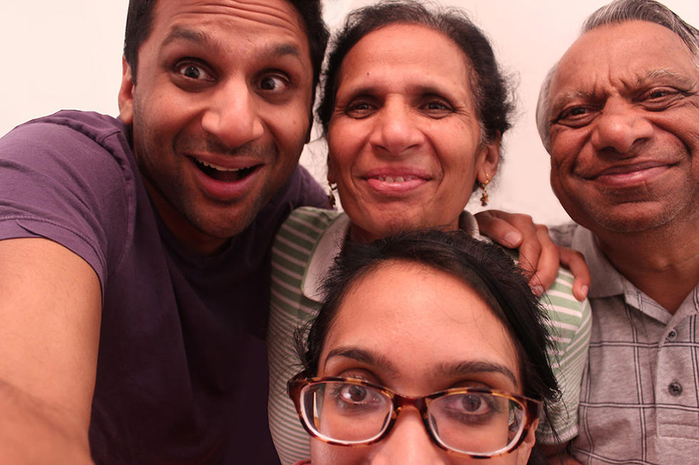 Ravi Patel (upper left) and Geeta Patel (front center), directors of 'Meet the Patels,' with their parents, Champa and Vasant.