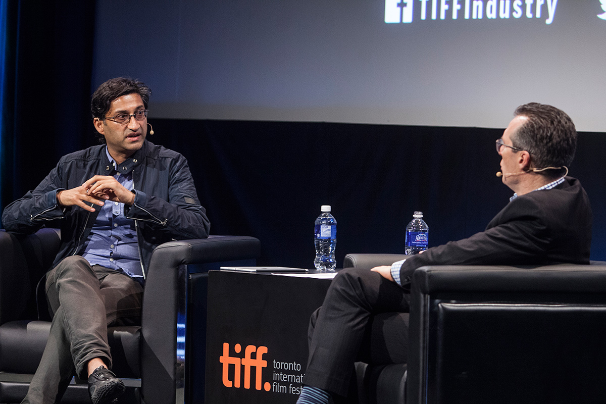 Filmmaker Asif Kapadia (left) in conversation with TIFF Docs programmer Thom Powers. Courtesy of TIFF