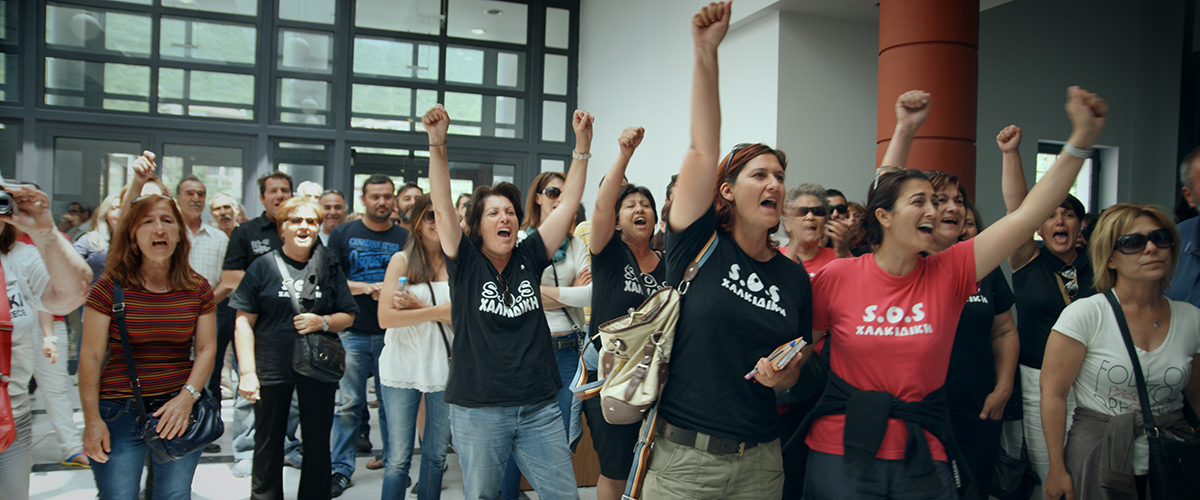 Protesters against gold mine in Halkidiki, Greece.  From Avi Lewis' 'This Changes Everything'
