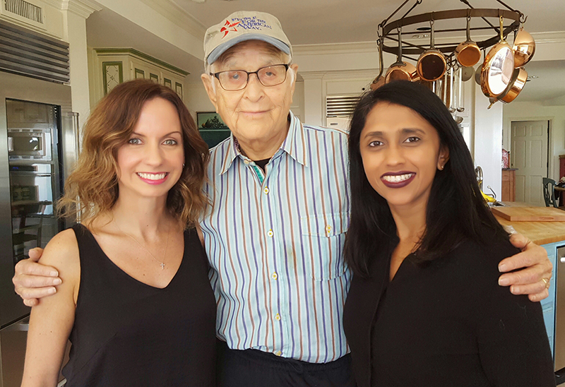 Filmmakers Caty Borum Chattoo (left) and Leena Jayaswal (right) flank TV producer Norman Lear, who was interviewed for the film and was the first producer to feature a black-white interracial family on American television.